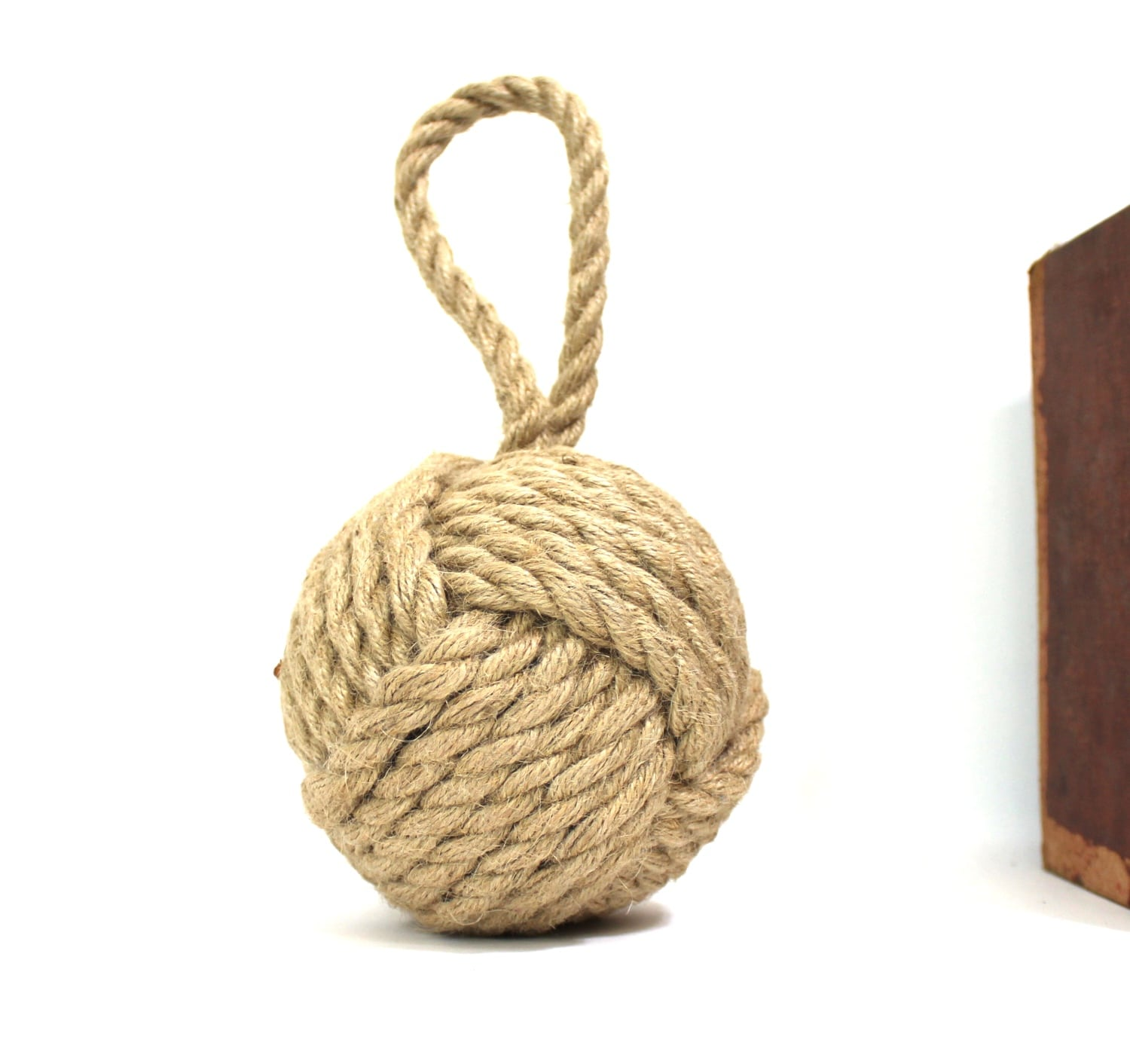 Heavy Weight Door Stop Hemp Rope Ball Heavy Door Stop Monkey Fist Nautical Sailors Knot Old Style