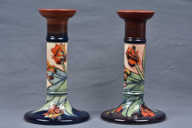 Moorcroft Pottery 198039s Tulip Tall Candle Holders Artist