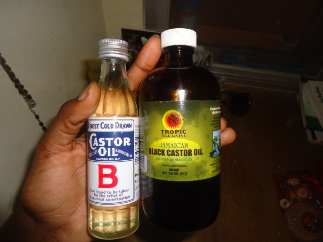 L- Clear pale yellow cold-pressed castor oil from a Pharmacy R- Tropical Isle Living Jamaican Black Castor Oil (Also Cold-pressed)