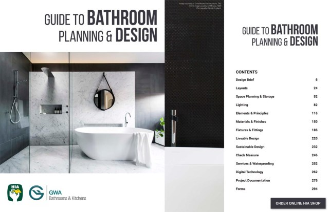Hia guide to bathroom planning and design the kitchen for Bathroom design guide