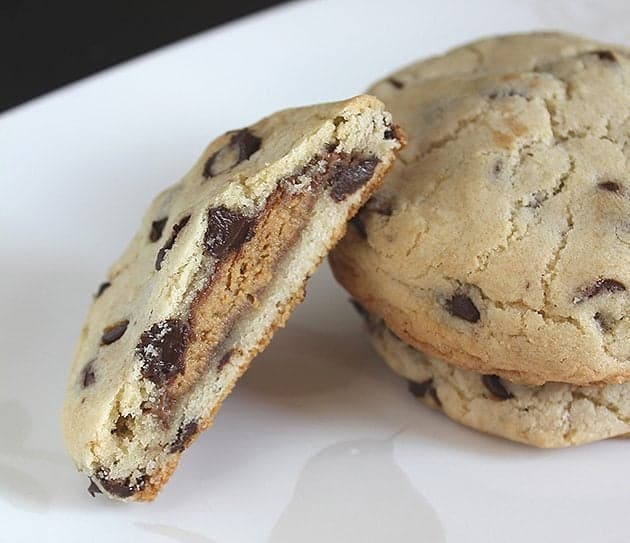 Peanut Butter Cup Stuffed Chocolate Chip Cookie Recipe - The ...