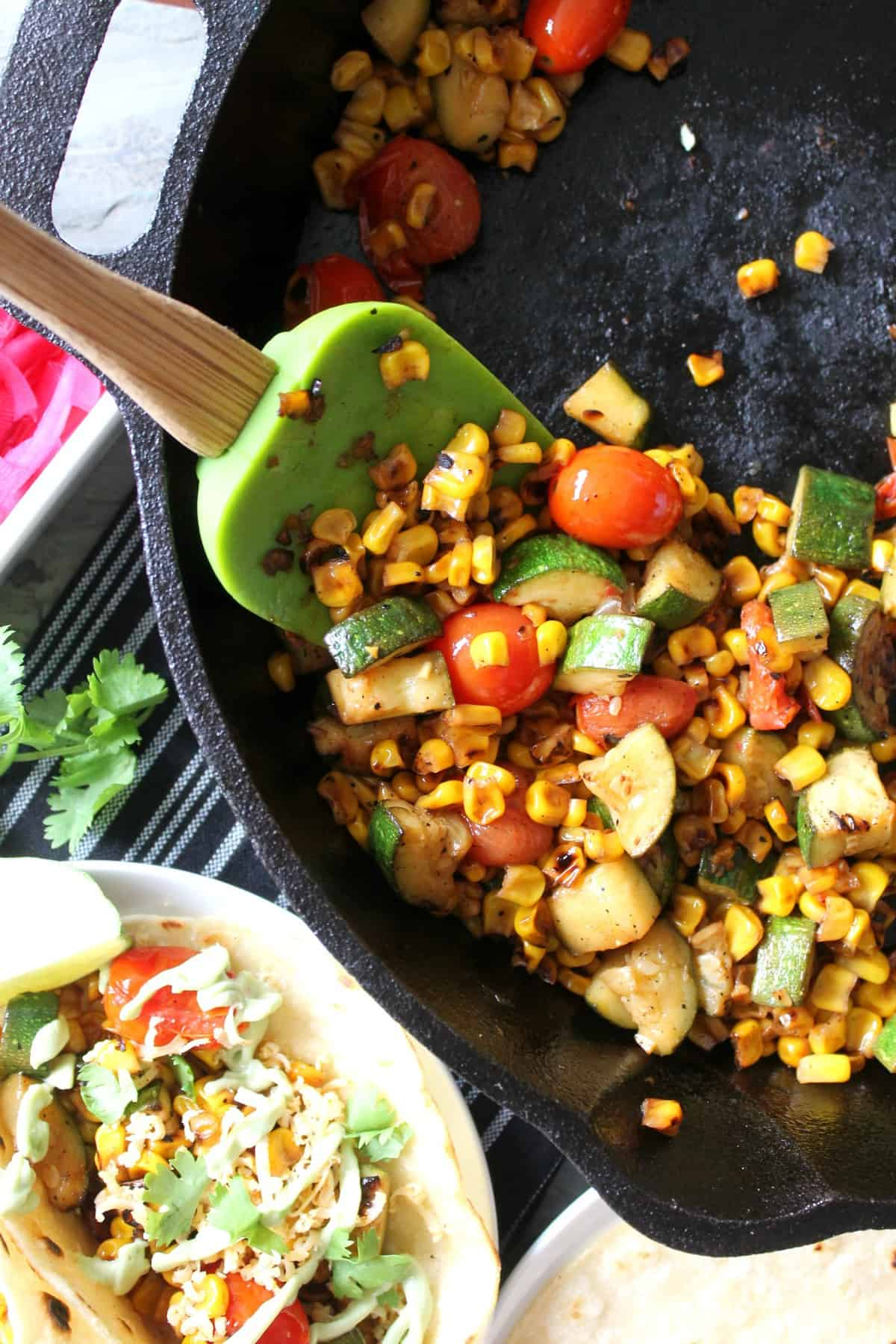 Charred Corn And Zucchini Tacos Recipe — Dishmaps