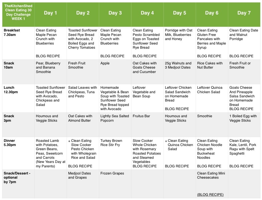 clean eating meal plan week 4