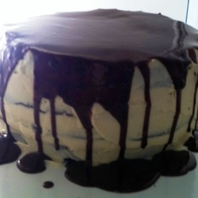 Chocolate Cake with Bailey's Frosting and Chocolate Ganache