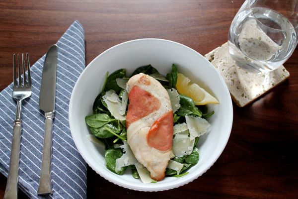 Prosciutto Wrapped Chicken with Spinach Salad