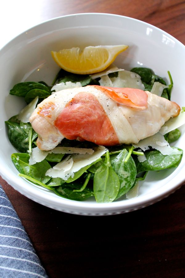 Prosciutto Wrapped Chicken with Spinach Salad | The Kittchen