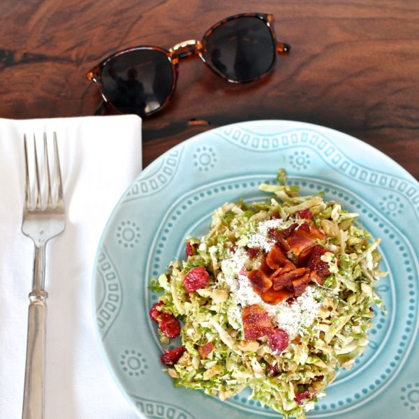 Shaved Brussels Sprout Salad with Bacon and Parmesan