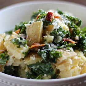 Kale Caesar Potato Salad (with bacon)
