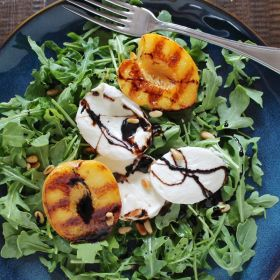 Grilled Peach, Mozzarella, and Arugula Salad, inspired by Chicago Food + Wine