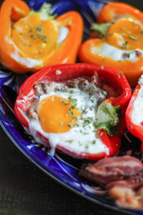 Sausage, Cheddar, and Sunny Side Up Egg Stuffed Bell Peppers-4