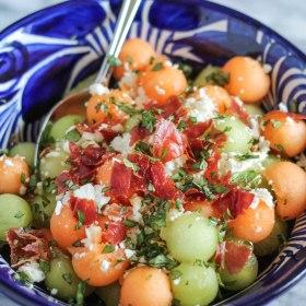 Melon Salad with Crispy Prosciutto and Feta
