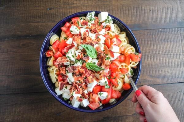 Tomato, Mozzarella, Basil and Bacon Pasta Salad 10