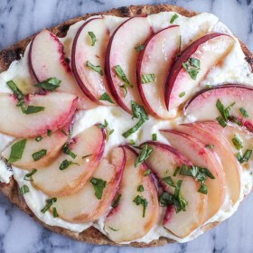 Peach and Ricotta Naan Pizza