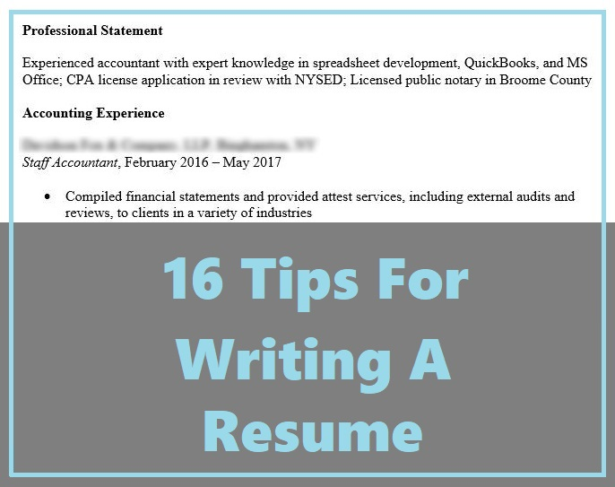 16 Tips For Writing A Resume The Korean Accountant