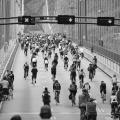 Cycling enthusiasts on the Lion's Gate bridge.