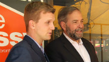 Tom Mulcair with NDP candidate Joe Cressy, who lost the Trinity-Spadina riding in last week's byelection. | Photo courtesy of Joe Cressy
