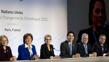 Christy Clark shares the stage in Paris with Prime Minister Justin Trudeau and other Canadian Premiers. | Photo courtesy of the Province of British Columbia