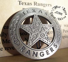 Texas Rangers Company A Badge old west ranger badges