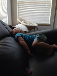 sleeping climbing the couch