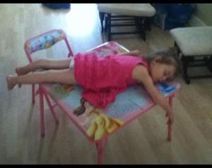 sleeping on play table