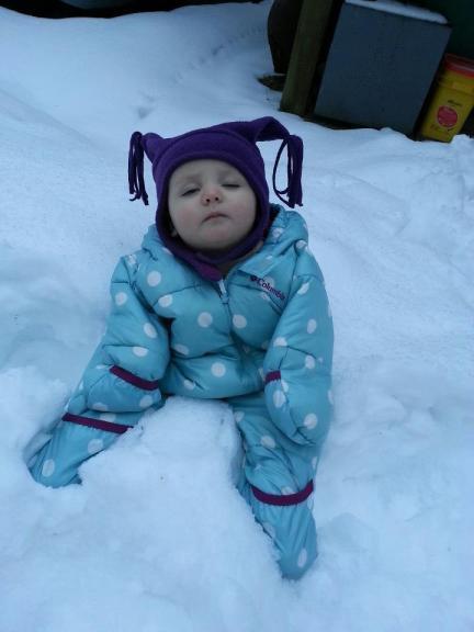 sleeping sitting in snow