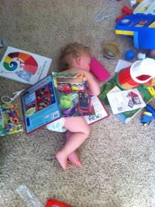 sleeping under a book