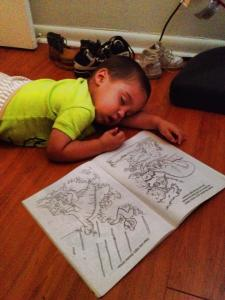 sleeping while coloring