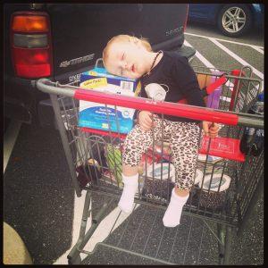sleeping while shopping
