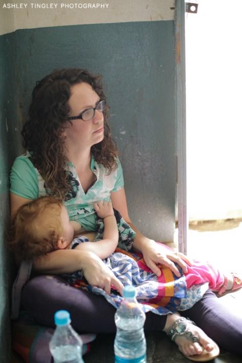 Taking a breastfeeding break inside a classroom in India. Photo Credit: Ashley Tingley
