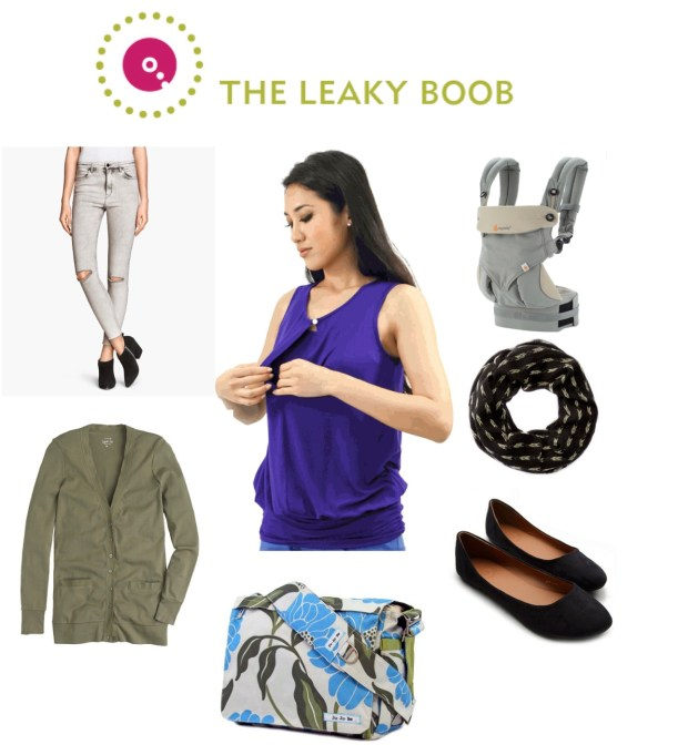 On the Go Mom babywearing breastfeeding fashion, Annee Matthews keyhole tunic breastfeeding top, Ergo 360, Jujubee diaper bag