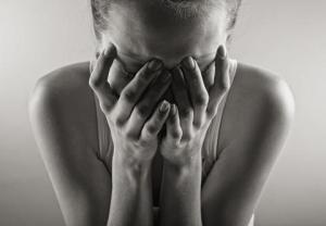 Crying woman. Black and white photo