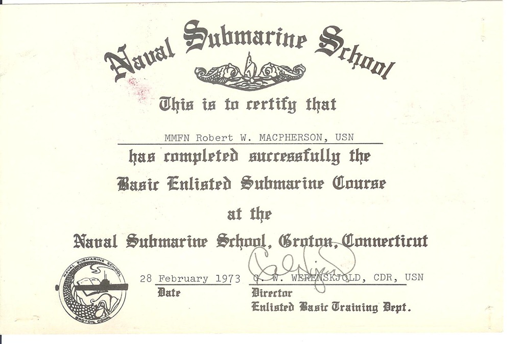 Sub School-graduation certificate Thresher Permit Class Nuclear - graduation certificate
