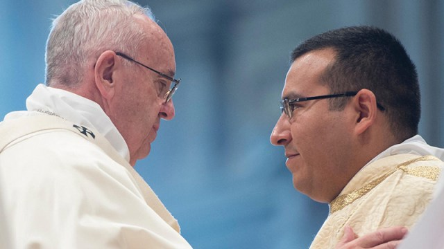 Photo courtesy of Agustin Martinez  Deacon Agustin Martinez greets Pope Francis in a Mass he assisted at with the Holy Father in Rome.