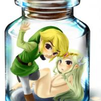 Toon fasten caught in a jar with Zelda while she is nude.