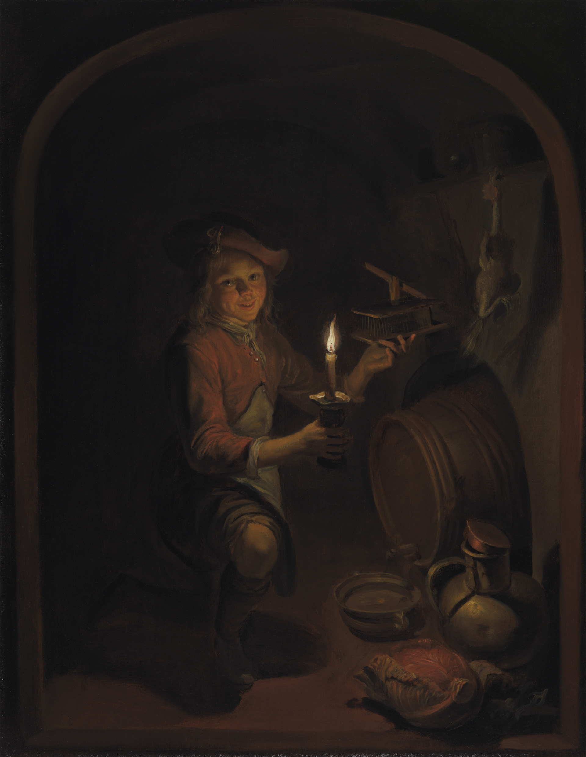 Candle Light Painting Boy With A Mousetrap By Candlelight The Leiden Collection