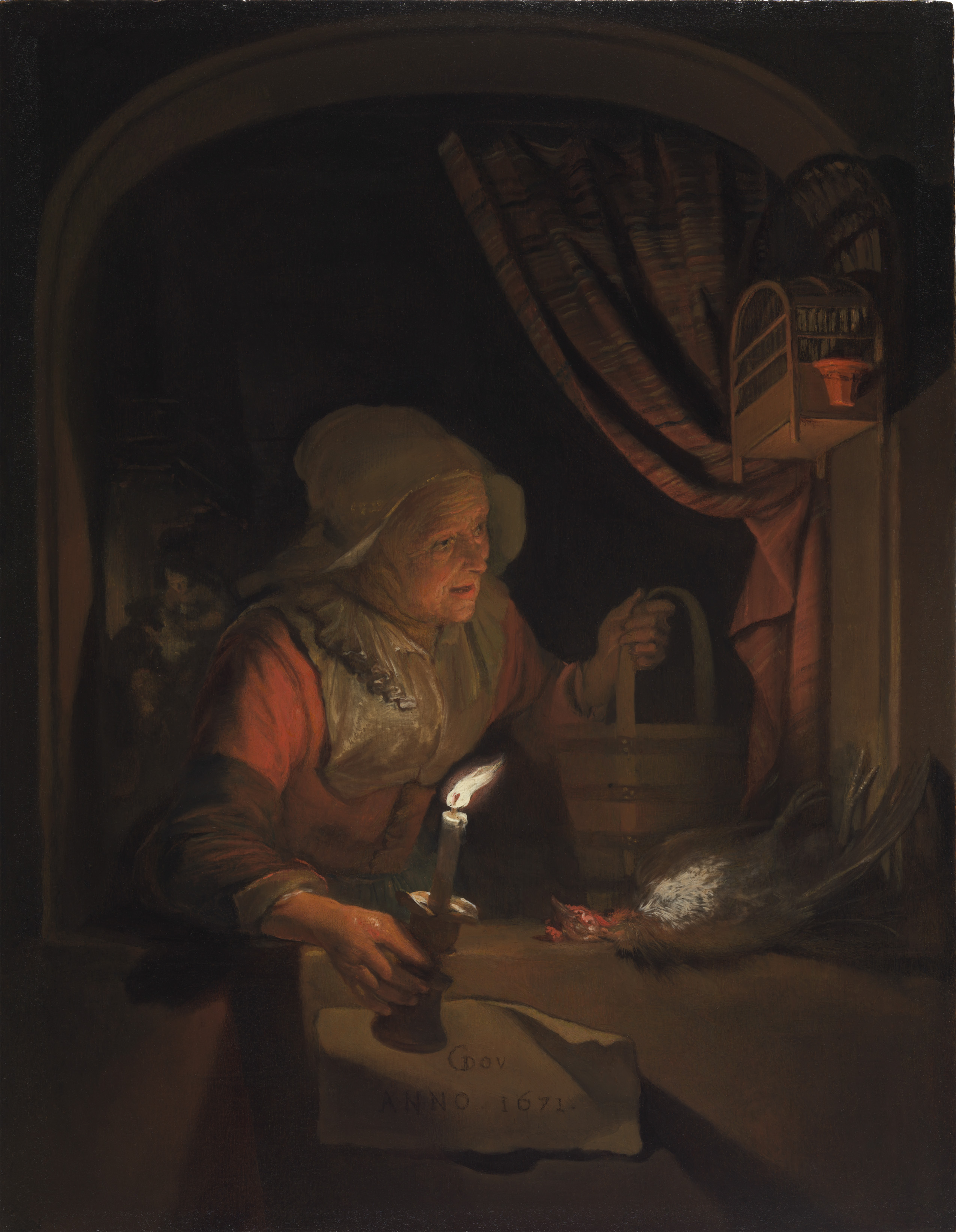 Candle Light Painting Old Woman At A Window With A Candle The Leiden Collection