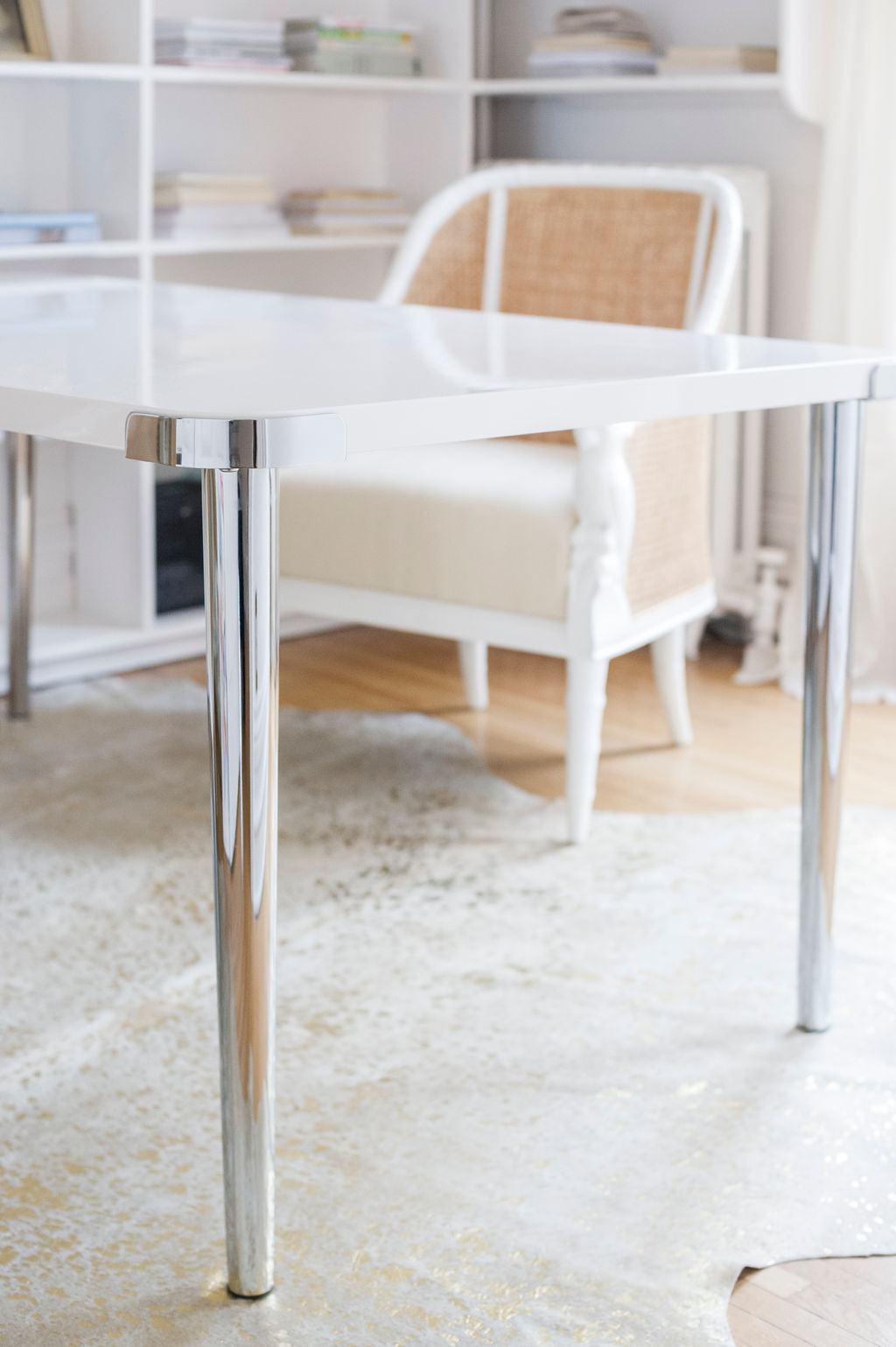 White Desk With Chrome Legs White Lacquer Table Chrome Legs The Leslie Style