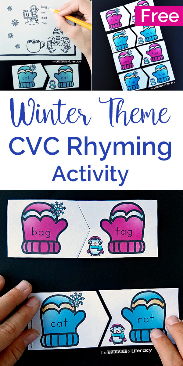 Winter Rhyming CVC Words Activity for Literacy Centers