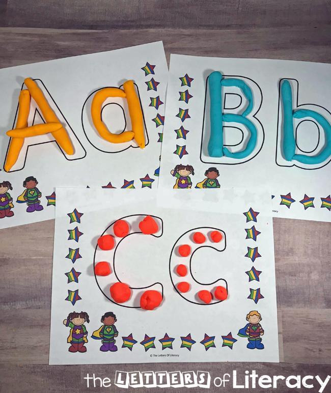 Superhero Alphabet Play Dough Mats for Letter Learning