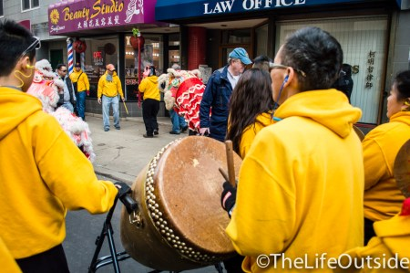 drums pounding at chinese new year in philadelphia