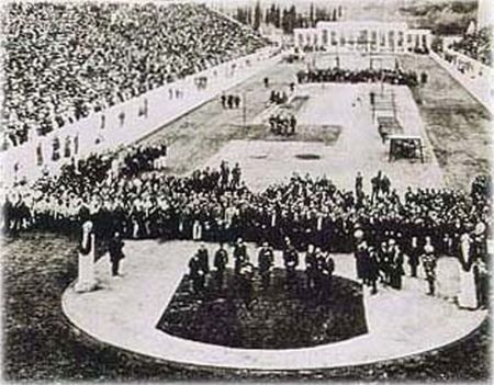 1896 Olympic opening ceremony at the Panathenaic stadium in Athens