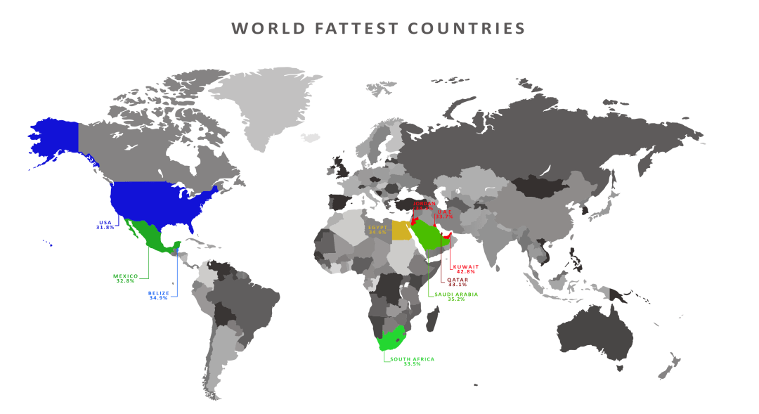 World's fattest country map