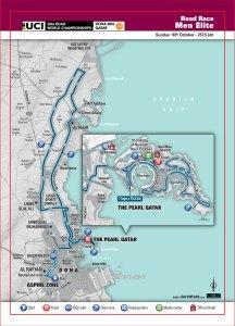 Doha 2016 UCI Road World Championships Men Elite Road Race map
