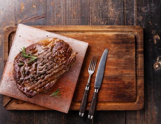 A steak cooked on a Himalayan salt block