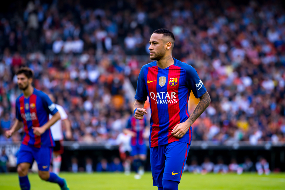 FC Barcelona player Neymar wearing the Qatar Airways logo