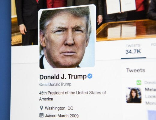 An image of US President Donald Trump's verified twitter profile