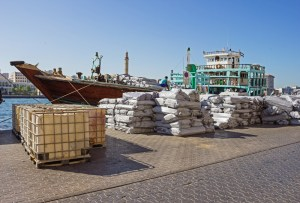 Cargo ship loading a in Port Said in Dubai, UAE.