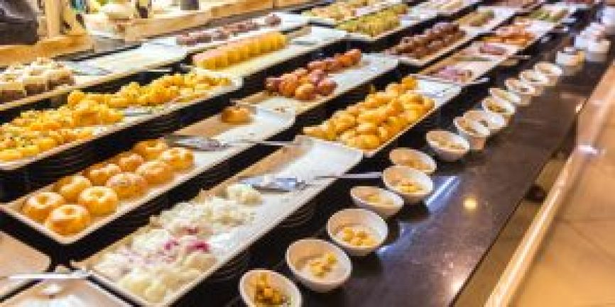 A buffet of Middle Eastern sweets.