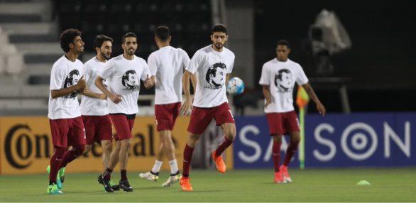 Players wearing Tamim Al Majd T-shirt during Qatar-Korea qualifer Qatar- Football Association/Twitter
