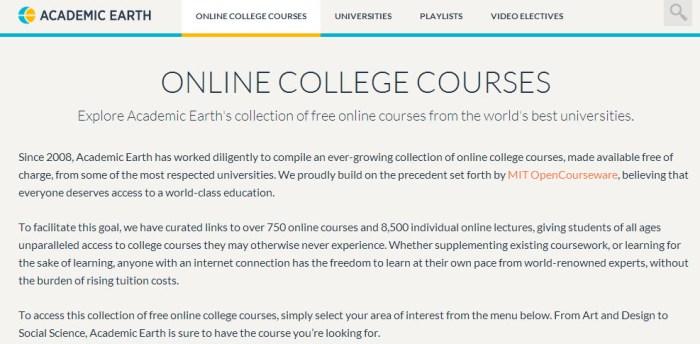 college online coursework